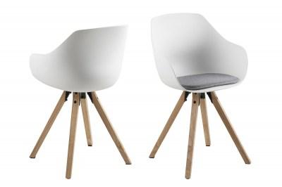 Dizajnová jedálenská stolička Alphonse, biela / prírodná