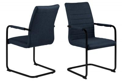 Dizajnová jedálenská stolička Daitaro s opierkami tmavomodrá / čierna