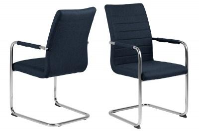 Dizajnová jedálenská stolička Daitaro s opierkami tmavomodrá / strieborná