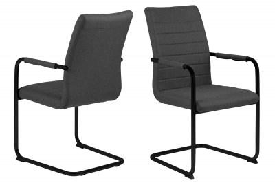Dizajnová jedálenská stolička Daitaro s opierkami tmavosivá / čierna