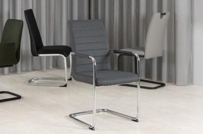 Dizajnová jedálenská stolička Daitaro s opierkami tmavosivá / strieborná