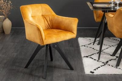 Dizajnová otočná stolička Giuliana horčicový zamat