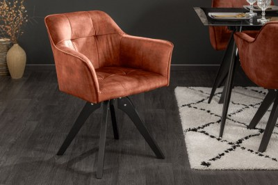 Dizajnová otočná stolička Giuliana medený zamat