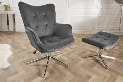 Dizajnová otočná stolička Joe - sivý zamat