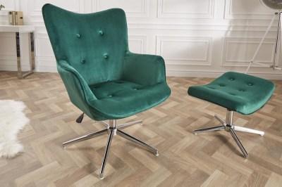 Dizajnová otočná stolička Joe - smaragdovozelený zamat