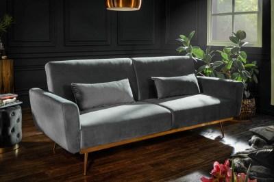 Dizajnová rozkladacia sedačka Blaine 208 cm sivý zamat