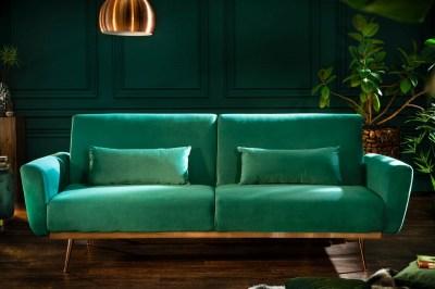 Dizajnová rozkladacia sedačka Blaine 208 cm smaragdový zamat