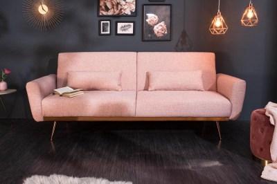 Dizajnová rozkladacia sedačka Blaine 208 cm staroružová