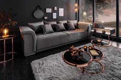 Dizajnová sedačka Korbin 270 cm svetlosivý zamat