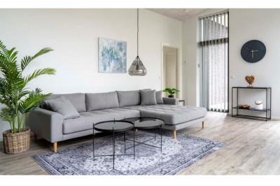 Dizajnová sedačka s otomanom Ansley svetlosivá - pravá