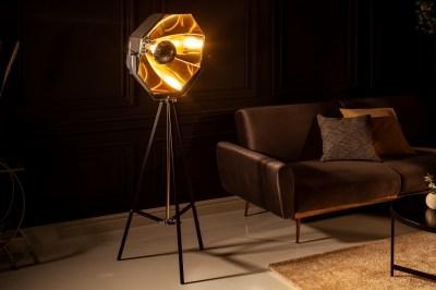 Dizajnová stojanová lampa Damon čierno-zlatá
