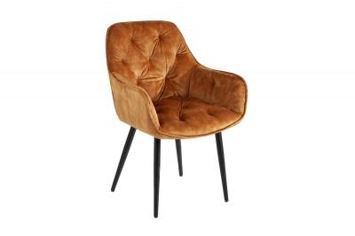Dizajnová stolička Garold horčicovo-žltý zamat