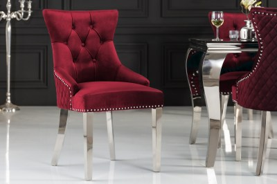 Dizajnová stolička Queen Levia hlava zamat červená