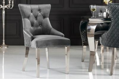 Dizajnová stolička Queen Levia hlava zamat sivá
