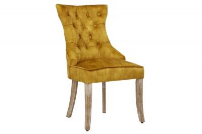 Dizajnová stolička Queen zamat horčicová žltá