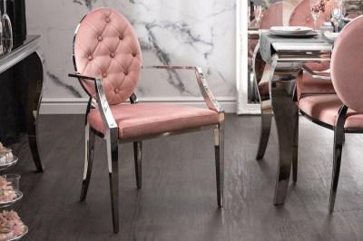 Dizajnová stolička s opierkami Rococo II ružová