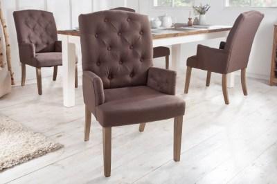 Dizajnová stolička s podrúčkami Queen hnedá