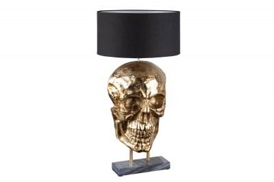 Dizajnová stolná lampa Lebka 76 cm čierno-zlatá