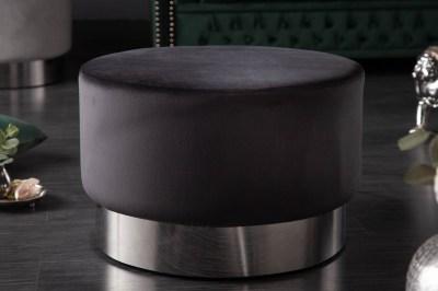 Dizajnová taburetka Rococo 55 cm čierna / strieborná