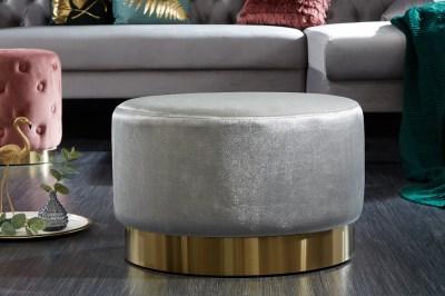 Dizajnová taburetka Rococo 55 cm sivá / zlatá