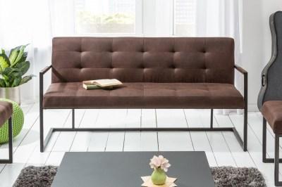 Dizajnová lavica Cowboy 160 cm vinatge hnedá