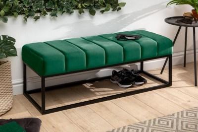 Dizajnová lavica Halle 110 cm zamat - smargdovozelená