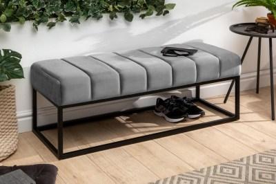 Dizajnová lavica Halle 110 cm zamat - striebornosivá