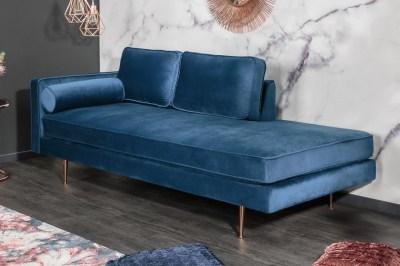 Dizajnová leňoška Evie 196 cm modrý zamat