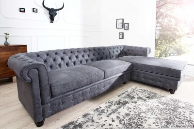 Dizajnová rohová sedačka Chesterfield II 280 cm sivá - pravá