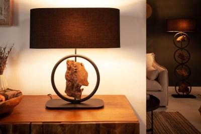 Dizajnová stolná lampa Factor 55 cm čierna - akácia
