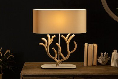 Dizajnová stolná lampa Maleah 58 cm béžová - akácia