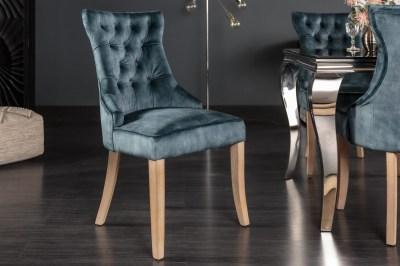 Dizajnová stolička Queen zamat petrol zelená