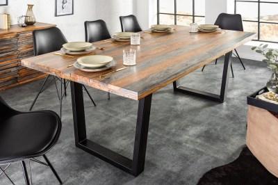 Dizajnový jedálenský stôl Flame 180 cm Sheesham sivý