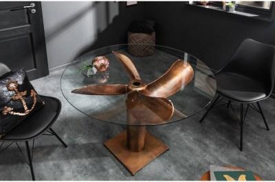 Dizajnový jedálenský stôl Propeller 94 cm medený