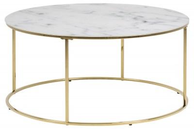 Dizajnový konferenčný stolík Ahman, biela / zlatá chrómová