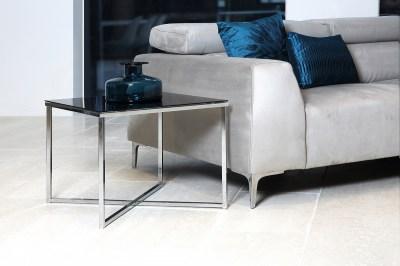 Dizajnový konferenčný stolík Aimilios, čierna / chrómová