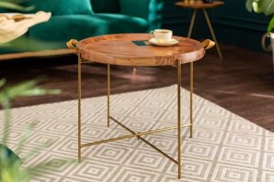 Dizajnový konferenčný stolík Freddo 55 cm akácia - zlatý