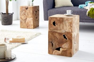 Dizajnový odkladací stolík Junk 30 cm teak