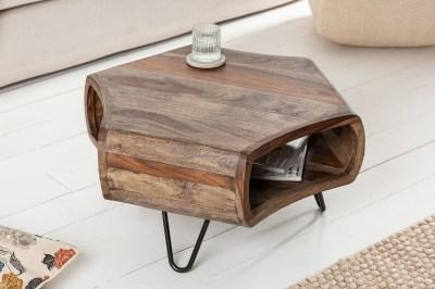 Dizajnový konferenčný stolík Lorelei 72 cm sheesham dymový