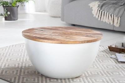 Dizajnový konferenčný stolík Malia 70 cm biely / mango