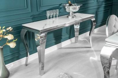 Dizajnový konzolový stôl Rococo 145 cm strieborný - mramor