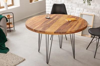Dizajnový okrúhly jedálenský stôl Elegant 120 cm Sheesham