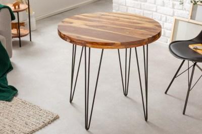 Dizajnový okrúhly jedálenský stôl Elegant 80 cm Sheesham