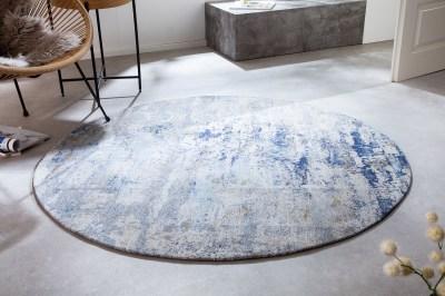 Dizajnový okrúhly koberec Rowan 150 cm béžovo-modrý