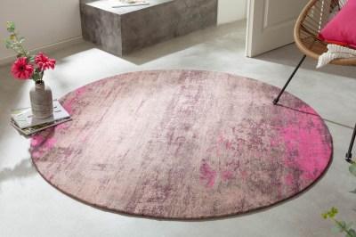 Dizajnový okrúhly koberec Rowan 150 cm béžovo-ružový