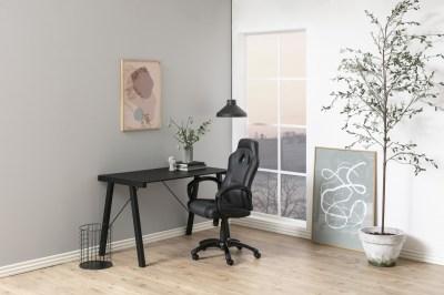 Dizajnový písací stôl Narges 125 cm, čierny sklenený