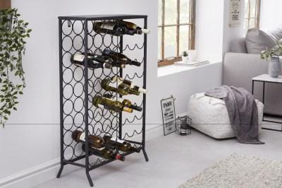 Dizajnový regál na víno Dalya 102 cm čierny