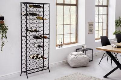 Dizajnový regál na víno Dalya 182 cm čierny