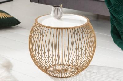 Dizajnový konferenčný stolík Elliana II 41cm biely-zlatý