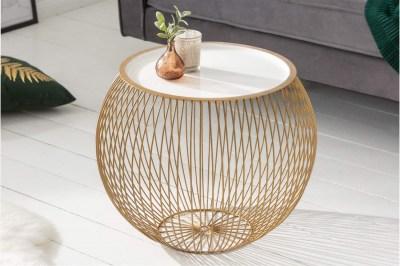 Dizajnový konferenčný stolík Elliana II 51cm biely-zlatý